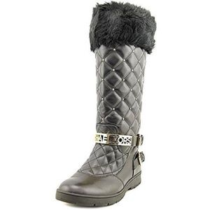 Michael Kors Essex Black/Gold Quilted Buckle Boots